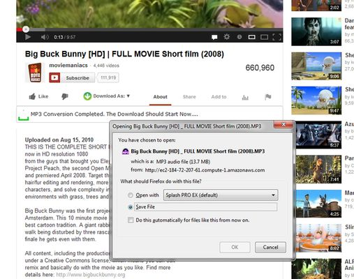 Directly save videos from Youtube to your hard-disk.