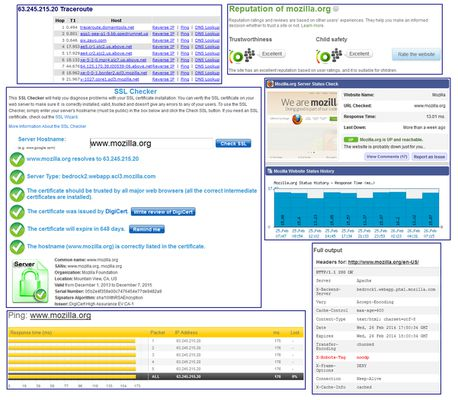 The Flagfox menu provides access to a multitude of additional actions. Shown here are parts of the traceroute, WOT Scorecard, SSL Checker, Check Server Status, Ping, and Header Check actions. Many more actions are available.