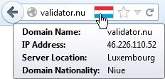 Hovering the cursor over the Flagfox icon in the address bar shows a tooltip with the IP address, server location, as well as domain nationality (if applicable).