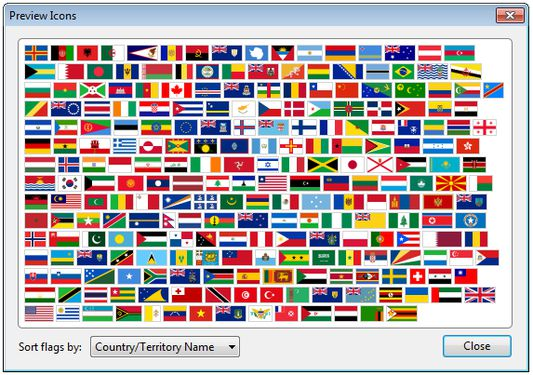 Flagfox uses a custom set of high quality flag icons based on the public domain works of Wikimedia Commons. The options links to a preview window that allows users to browse the flags and look up countries/territories via Wikipedia.