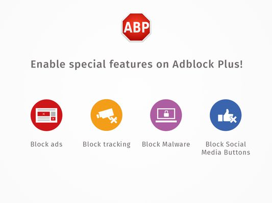 Adblock Plus can do more than adblocking. Enable powerful features in one click.