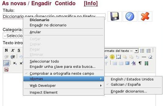 O corrector en funcionamento dentro do Firefox