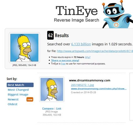 Search results on Tineye.com