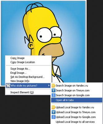 Right click image menu