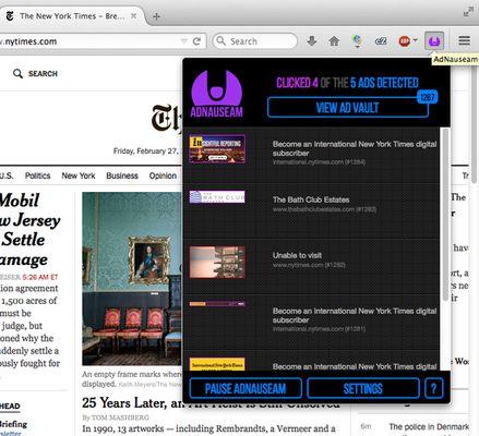 AdNauseam's menu interface