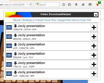 Video DownloadHelper main panel