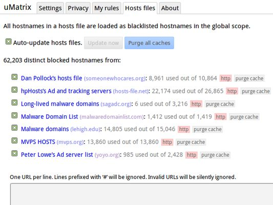 Hosts files allow to automatically blacklist thousands of hostnames.