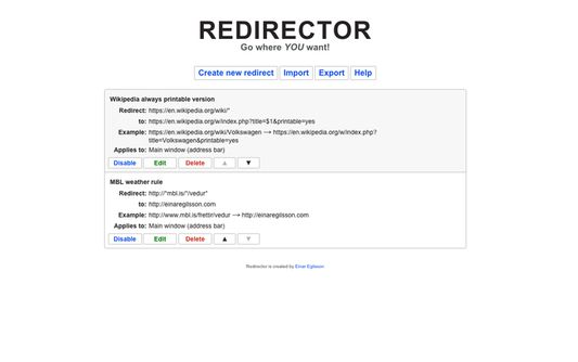 The UI for editing redirects.