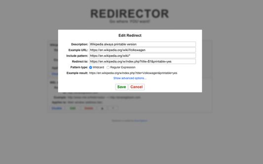 The Edit redirect form.