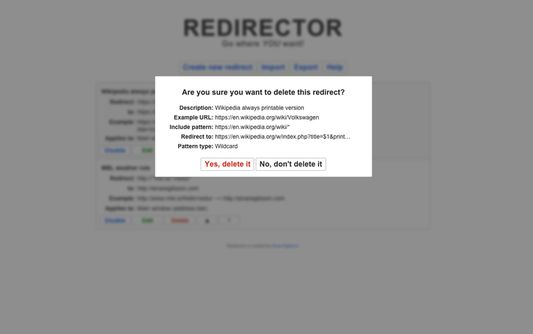 The Delete redirect form.