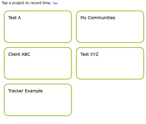 And get a list of buttons for quickly tracking time across different projects.