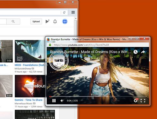 Pop-out mode: Play your videos and playlists on a dedicated window while you navigate around the web with the company of your favorite videos or music