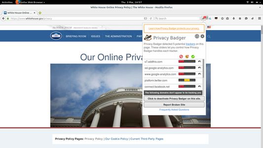 Privacy Badger at work on the whitehouse.gov privacy policy page.