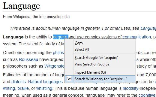 Context menu option to look up word definition on Wiktionary.