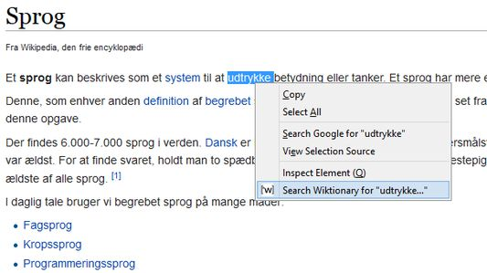 Context menu entry to translate word on Wiktionary.