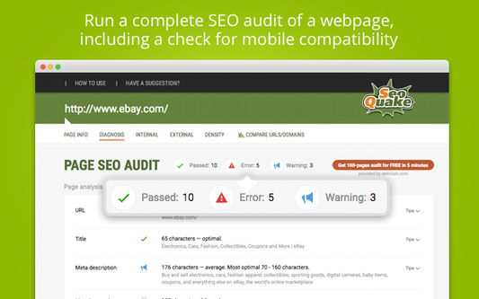 Run a complete SEO audit of a webpage, including a check for mobile compatibility