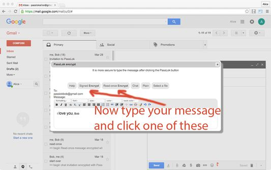 After writing your message, click the Encrypt to email or Encrypt to file button. Write your Password when asked.