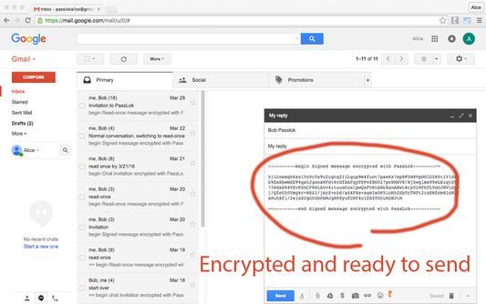And it's encrypted! Just click Send. No need to give your Password to anyone.