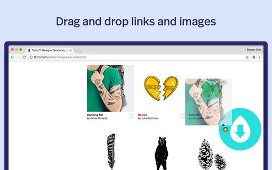 Drag and drop links and images