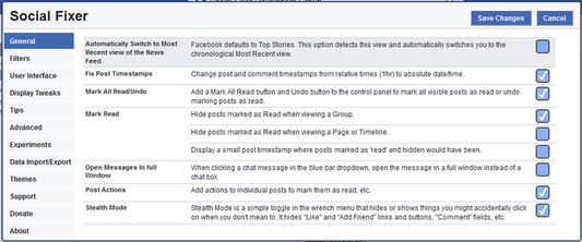 The Options panel lets you customize how you want Social Fixer to work.