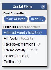 The Control Panel is where tabs appear that group the news feed posts based on filters.