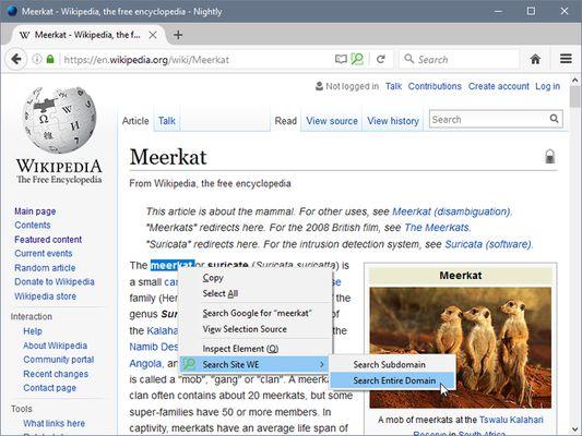 Search Site WE - context menu sub-menu