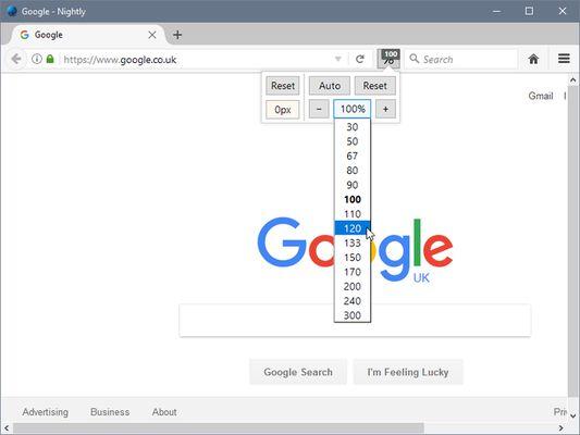 Zoom Page WE - popup zoom menu