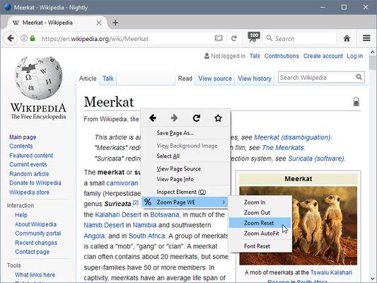 Zoom Page WE - context menu sub-menu