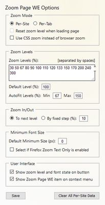 Zoom Page WE - options page