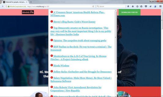 Access saved offline content (via toolbar icon or menu bar)