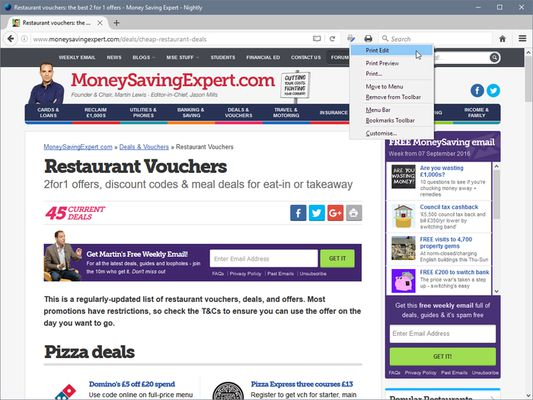 Print Edit WE - toolbar button menu