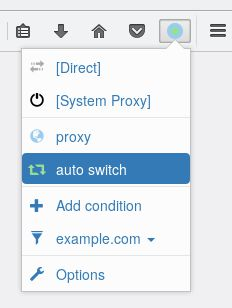 Switch easily between proxies on the popup menu.