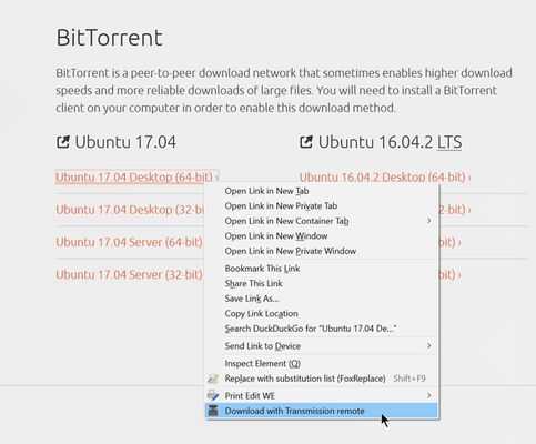 The context menu option lets you quickly add a magnet or torrent file link to the server