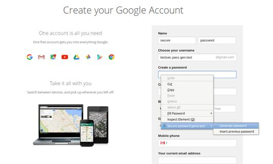 Generate new secure password
