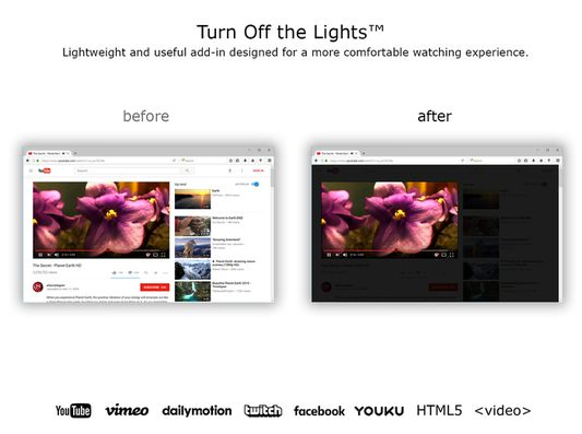 Turn Off the Lights - Before and after you click on gray lamp button