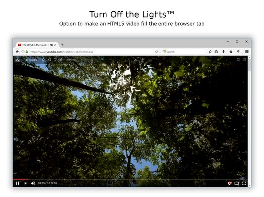 Turn Off the Lights - Full screen video in a tab