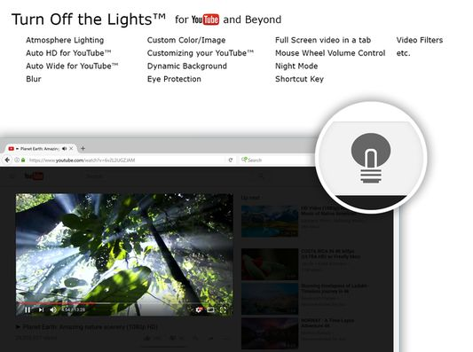 Turn Off the Lights Firefox extension - Features overview