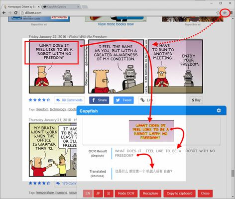 Capture and translate comics and mangas with Copyfish