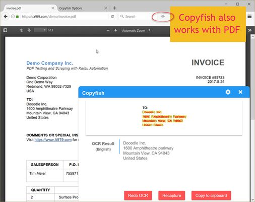 Copyfish can also capture texts from PDFs, or any other document inside Firefox.