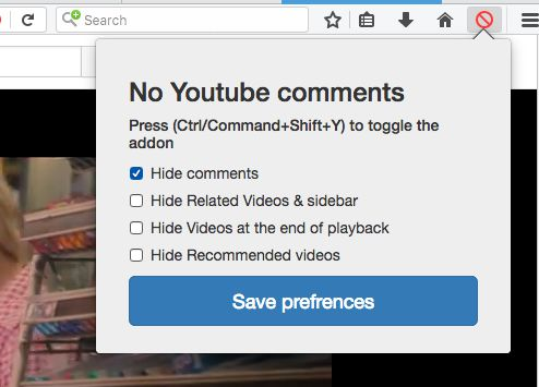 No youtube comments settings