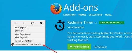Or open the Redmine Timer Buttons window from the right-click menu...