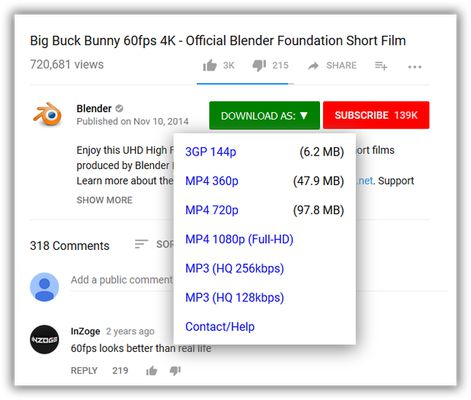 One-click, Youtube video downloader.