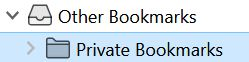 After unlocking the Private Bookmarks folder becomes available.