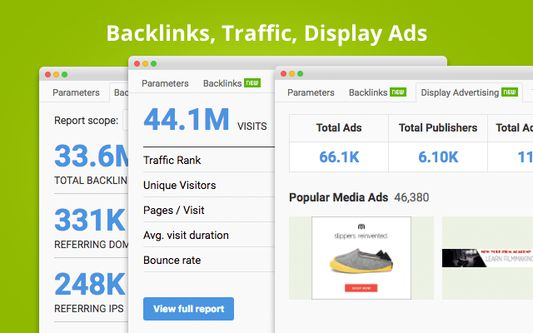Backlinks, Traffic, Display Ads