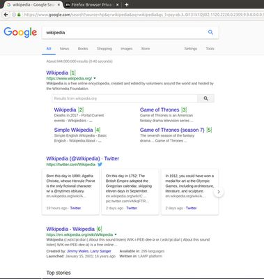 Google Search with search numbers. Press the number to go to the respective entry.