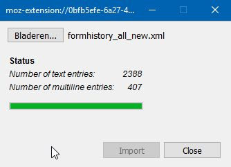 Files containing form history data can be exported and imported in XML format. Import files from older versions are still supported.