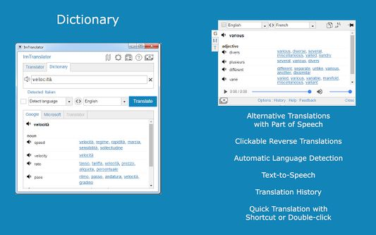 ImTranslator Dictionary translates single words and displays alternative translations along with its part of speech. In addition to the translation variants, each dictionary entry displays a set of reverse translations into the original language, if available.