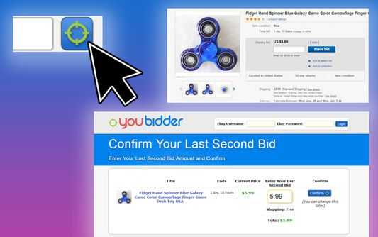 On an ebay item page, just click the button at the top right to last second bid an eBay item.