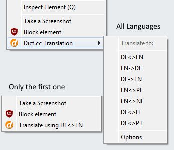 Use right click for more language options. A simple version with only the first language is available too.
