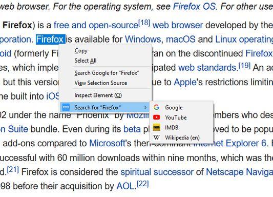 The optional context menu.